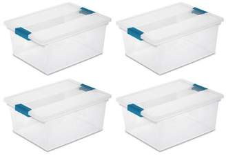 clear Sterilite Deep Clip Box Plastic Storage Tote Container with Lid, 4 Pack