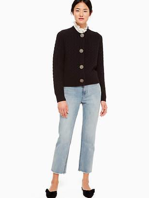 Kate Spade Embellished Cable Cardigan, Black - Size L