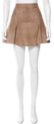 Yves Salomon Laser Cut Leather Skirt w/ Tags