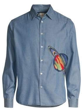 Paul Smith Embroidered Saturn Chambray Button-Down Shirt