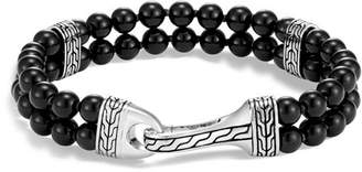 John Hardy Sterling Silver Classic Chain Two-Row Black Onyx Bead Bracelet