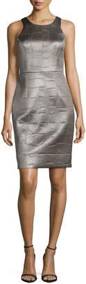 Milly Crocodile-Embossed Sheath Dress