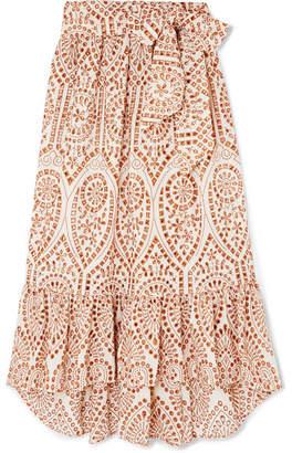 8034cdd9e7e682 Lisa Marie Fernandez Nicole Embroidered Broderie Anglaise Cotton Maxi Skirt  - Orange