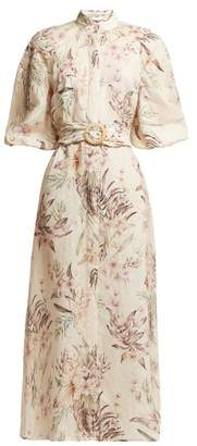 Zimmermann Wayfarer Floral Print Linen Dress - Womens - Cream Print