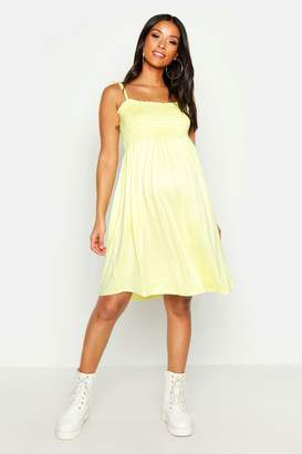 boohoo Maternity Tie Strap Shirred Mini Dress