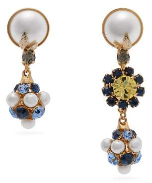 Erdem Mismatched Crystal And Faux Pearl Drop Earrings - Womens - Blue