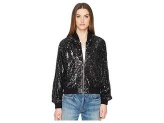 The Kooples Sequin Fabric Jacket with Contrasting Piping