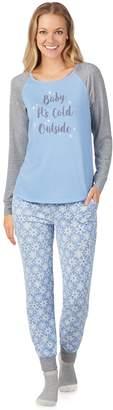 Cuddl Duds Women's Enchanted Graphic Sleep Top, Banded Bottom Sleep Pantss & Socks Pajama Set