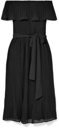 MICHAEL Michael Kors Off-the-shoulder Plissé-chiffon Dress - Black