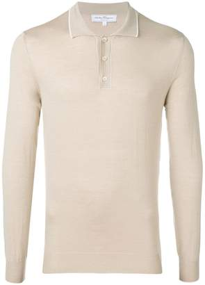 Salvatore Ferragamo button-up long sleeved polo