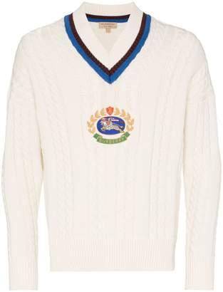 Burberry v neck logo cricket knit jumper