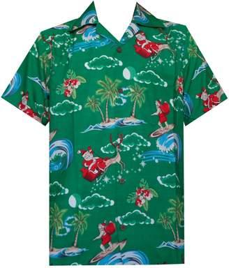 7f7fc9ca Alvish Hawaiian Shirt 41 Mens Christmas Santa Claus Party Aloha Holiday 2XL