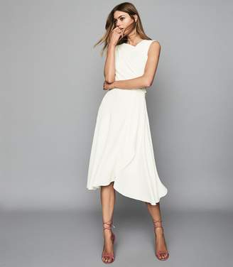 Reiss MARLING WRAP FRONT MIDI DRESS Ivory