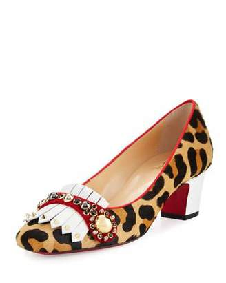 Christian Louboutin Oaxacna Calf-Hair Kiltie 45mm Red Sole Pump, Version Gold $995 thestylecure.com