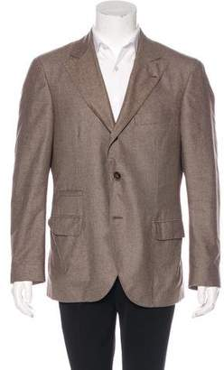 Brunello Cucinelli Cashmere & Silk Houndstooth Blazer