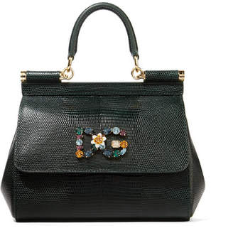 Dolce & Gabbana Sicily Small Embellished Lizard-effect Leather Tote - Dark green