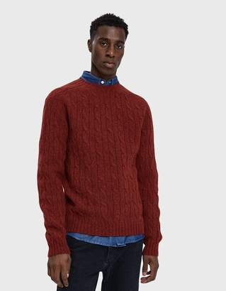 Norse Projects Birnir Cable Lambswool Sweater in Cabin Red