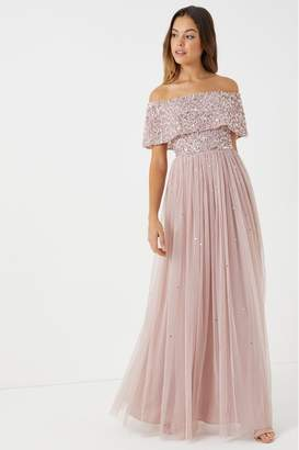 Maya Womens Embellished Bardot Maxi Dress - Pink