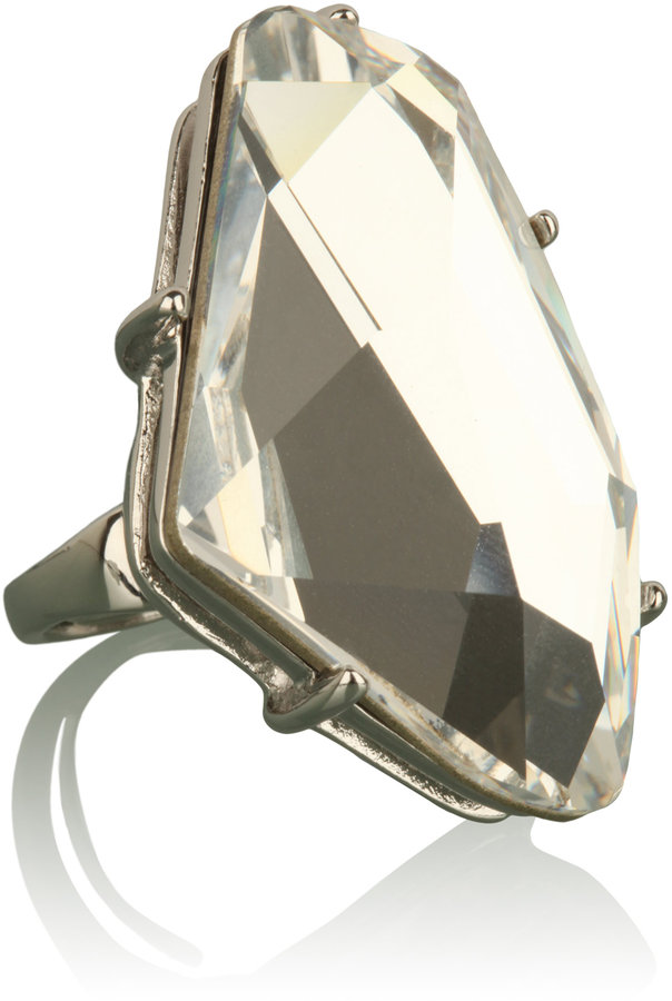 Kenneth Jay Lane Crystal Gunmetal Ring