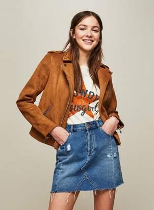 Miss Selfridge Tan suedette biker jacket