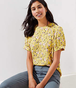 LOFT Floral Puff Sleeve Button Back Top