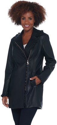 Dennis Basso Faux Leather Zip Front Jacket w/ Ruffle Detail
