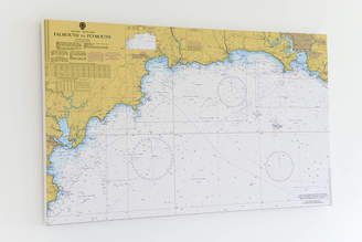 Living by the Seaside Nautical Chart On Canvas Falmouth To Plymouth 30x40'