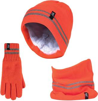 Heat Holders - Mens Hi Vis Thermal Insulated for Cold Winter with High Visibility Multipurpose Hat, Gloves & Neck Warmer Set (Small/Medium, )