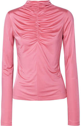 Cédric Charlier Ruched Satin-jersey Top - Pink