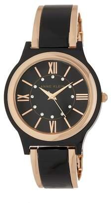 Anne Klein Women's Black Bangle Bracelet Watch, 36mm