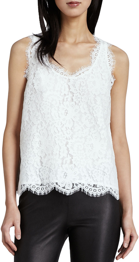 Joie Cina V-Neck Lace Tank Top
