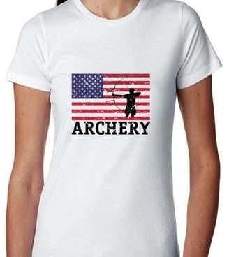 Hollywood Thread USA Olympic - Archery - Vintage Flag - Silhouette Women's Cotton T-Shirt