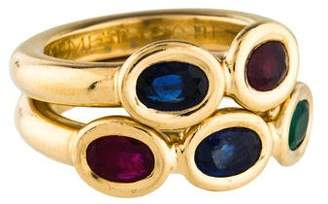 Chaumet 18K Sapphire, Ruby & Emerald Ring Set