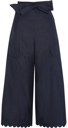 See by Chloé - Scalloped Cotton-poplin Wide-leg Pants - Navy $360 thestylecure.com