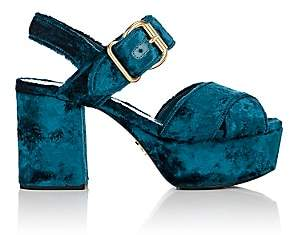 Prada Women's Crushed Velvet Platform Sandals-Turchese