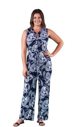 24/7 Comfort Apparel Women's Plus Size Paisley Sleeveless Jumpsuit P703NPA-L