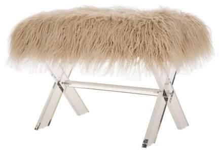 Glitzhome Faux Fur Acrylic Bench Camel