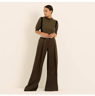 Amanda Wakeley Khaki Viscose Satin Wide Leg Trousers