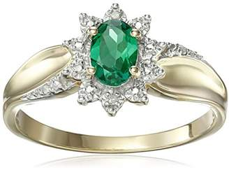10k Yellow Gold Oval Created Emerald Gemstone and Diamond Accent Ring