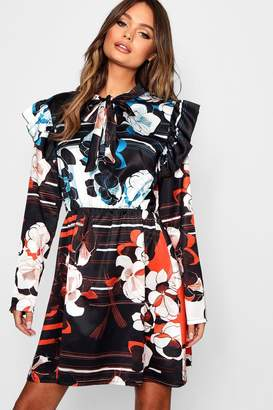 boohoo Mix Print Tie Neck Satin Skater Dress