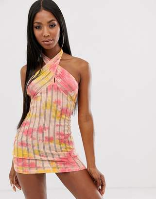Sorbet Asos Design ASOS DESIGN cross neck beach sundress in laddered tie dye jersey