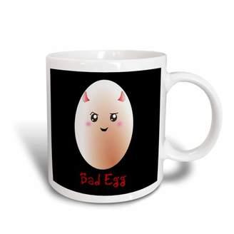 3dRose Funny bad egg anime style on black - fun cute kawaii egg with red little devil horns - sweet joke, Ceramic Mug, 11-ounce