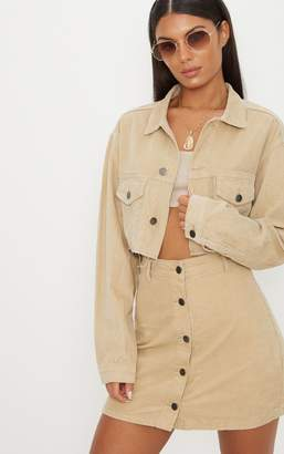 PrettyLittleThing Stone Cropped Cord Jacket
