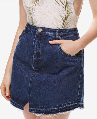 Free People Step Up Blue Wash Frayed Denim Skirt $60 thestylecure.com
