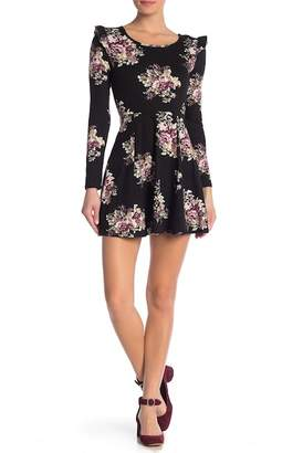 Love, Nickie Lew Floral Long Sleeve Skater Dress