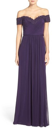 Women's La Femme Embellished Off The Shoulder Gown $469 thestylecure.com