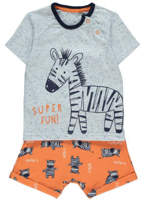George Blue and Orange Zebra T-Shirt and Shorts Outfit