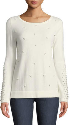 Neiman Marcus Pearl Embellished Cashmere Sweater