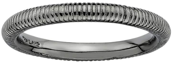 Stacks & Stones Ruthenium-Plated Sterling Silver Ribbed Stack Ring