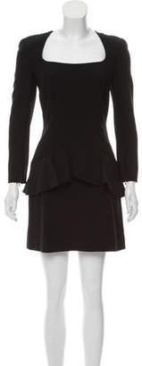 Alexander McQueen Long-Sleeve Peplum Dress